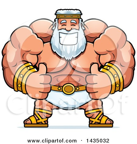 Clipart of a Cartoon Buff Muscular Zeus Giving Two Thumbs up - Royalty Free Vector Illustration by Cory Thoman