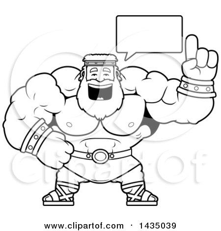 Clipart of a Cartoon Black and White Lineart Buff Muscular Zeus Talking - Royalty Free Vector Illustration by Cory Thoman