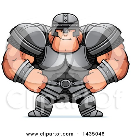 Clipart of a Cartoon Smug Buff Muscular Warrior - Royalty Free Vector Illustration by Cory Thoman