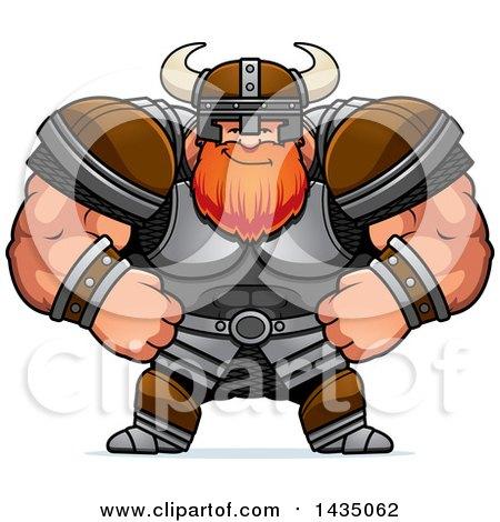 Clipart of a Cartoon Smug Buff Muscular Viking Warrior - Royalty Free Vector Illustration by Cory Thoman