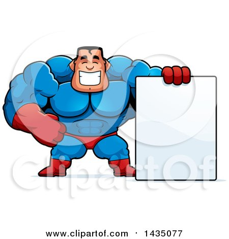 Clipart of a Cartoon Buff Muscular Male Super Hero with a Blank Sign - Royalty Free Vector Illustration by Cory Thoman