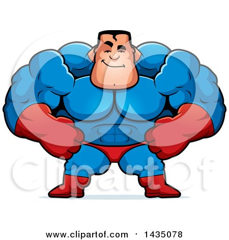 Clipart of a Cartoon Smug Buff Muscular Male Super Hero - Royalty Free Vector Illustration by Cory Thoman