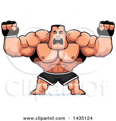 Clipart of a Cartoon Buff Muscular MMA Fighter Holding His Fists in Balls of Rage - Royalty Free Vector Illustration by Cory Thoman