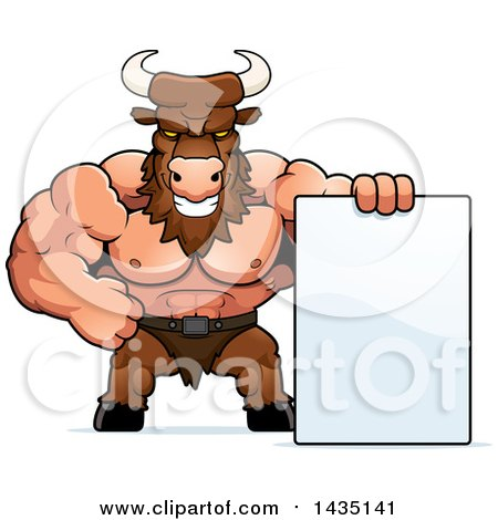 Clipart of a Cartoon Buff Muscular Minotaur with a Blank Sign - Royalty Free Vector Illustration by Cory Thoman