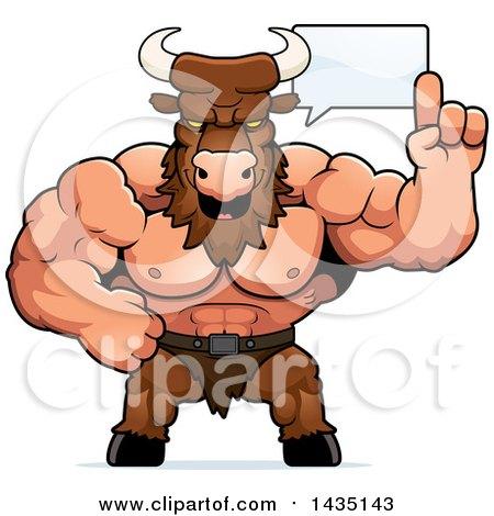 Clipart of a Cartoon Buff Muscular Minotaur Talking - Royalty Free Vector Illustration by Cory Thoman