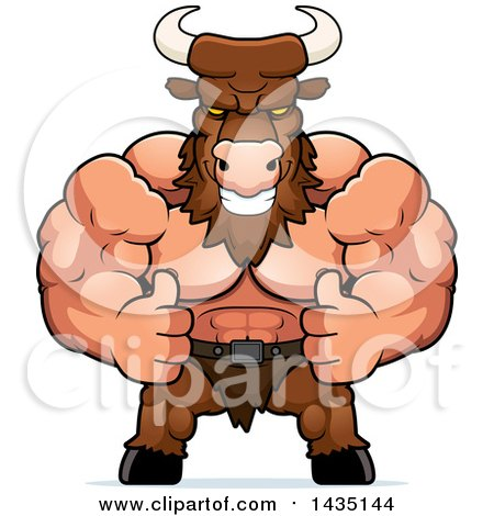 Clipart of a Cartoon Buff Muscular Minotaur Giving Two Thumbs up - Royalty Free Vector Illustration by Cory Thoman