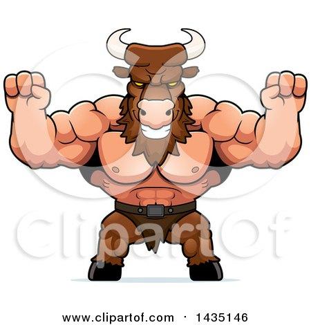 Clipart of a Cartoon Buff Muscular Minotaur Cheering - Royalty Free Vector Illustration by Cory Thoman