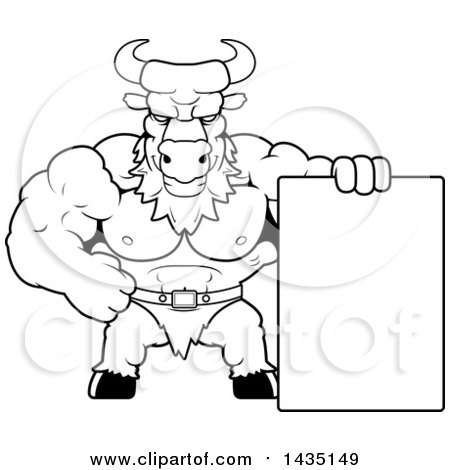 Clipart of a Cartoon Black and White Lineart Buff Muscular Minotaur with a Blank Sign - Royalty Free Vector Illustration by Cory Thoman