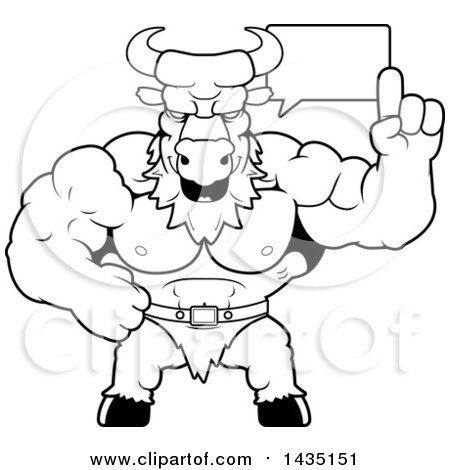 Clipart of a Cartoon Black and White Lineart Buff Muscular Minotaur Talking - Royalty Free Vector Illustration by Cory Thoman