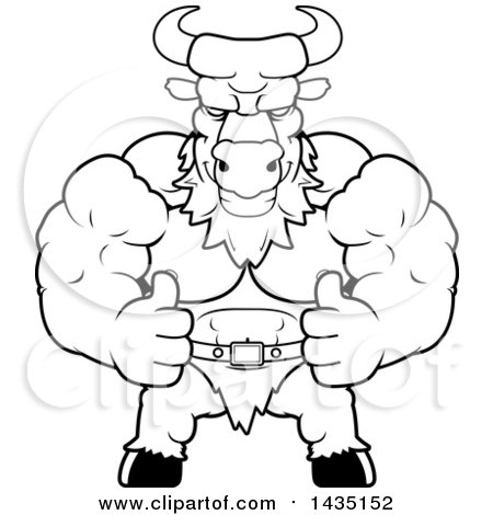 Clipart of a Cartoon Black and White Lineart Buff Muscular Minotaur Giving Two Thumbs up - Royalty Free Vector Illustration by Cory Thoman
