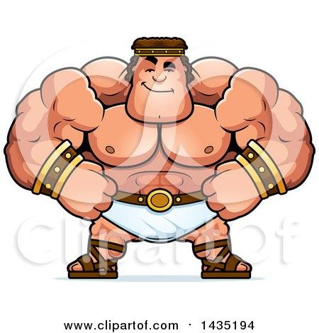 Clipart of a Cartoon Smug Buff Muscular Hercules - Royalty Free Vector Illustration by Cory Thoman