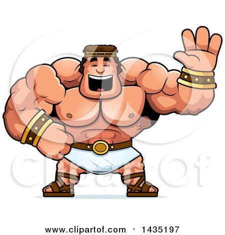 Clipart of a Cartoon Buff Muscular Hercules Waving - Royalty Free Vector Illustration by Cory Thoman