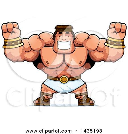 Clipart of a Cartoon Buff Muscular Hercules Cheering - Royalty Free Vector Illustration by Cory Thoman