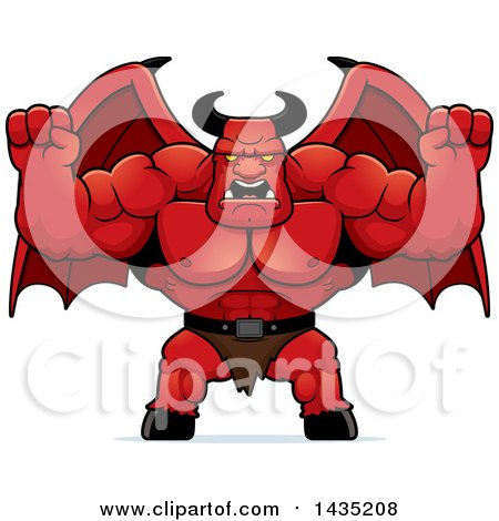 Clipart of a Cartoon Buff Muscular Demon Holding His Fists in Balls of Rage - Royalty Free Vector Illustration by Cory Thoman