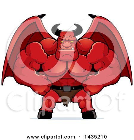 Clipart of a Cartoon Smug Buff Muscular Demon - Royalty Free Vector Illustration by Cory Thoman