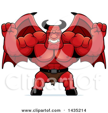 Clipart of a Cartoon Buff Muscular Demon Cheering - Royalty Free Vector Illustration by Cory Thoman
