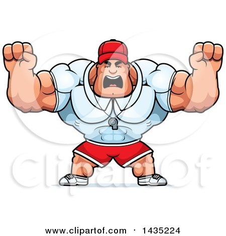 Clipart of a Cartoon Buff Muscular Sports Coach Holding His Fists in Balls of Rage - Royalty Free Vector Illustration by Cory Thoman