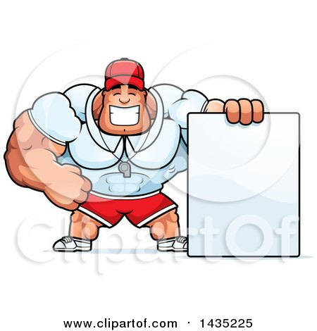 Clipart of a Cartoon Buff Muscular Sports Coach with a Blank Sign - Royalty Free Vector Illustration by Cory Thoman