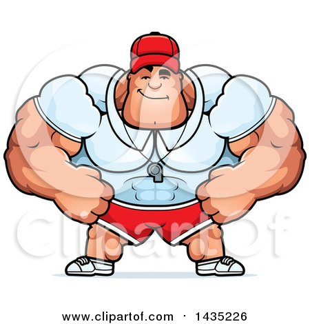 Clipart Of A Cartoon Smug Buff Muscular Sports Coach Royalty Free Vector Illustration