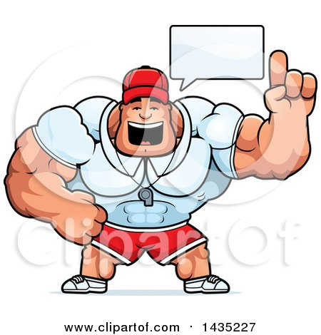 Clipart of a Cartoon Buff Muscular Sports Coach Talking - Royalty Free Vector Illustration by Cory Thoman