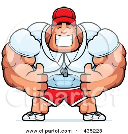 Clipart of a Cartoon Buff Muscular Sports Coach Giving Two Thumbs up - Royalty Free Vector Illustration by Cory Thoman