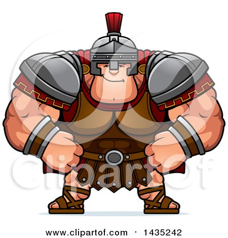 Clipart of a Cartoon Smug Buff Muscular Centurion Soldier - Royalty Free Vector Illustration by Cory Thoman
