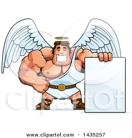 Clipart of a Cartoon Buff Muscular Male Angel with a Blank Sign - Royalty Free Vector Illustration by Cory Thoman