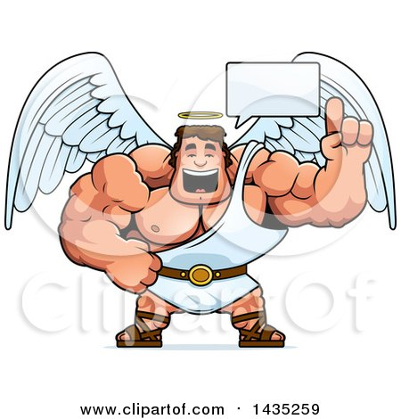 Clipart of a Cartoon Talking Buff Muscular Male Angel - Royalty Free Vector Illustration by Cory Thoman