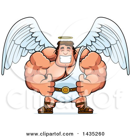Clipart of a Cartoon Buff Muscular Male Angel Giving Two Thumbs up - Royalty Free Vector Illustration by Cory Thoman