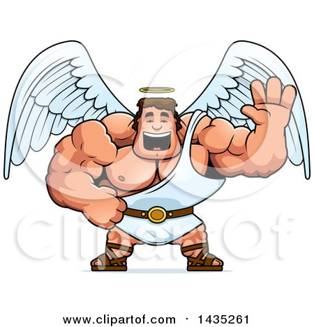 Clipart of a Cartoon Buff Muscular Male Angel Waving - Royalty Free Vector Illustration by Cory Thoman