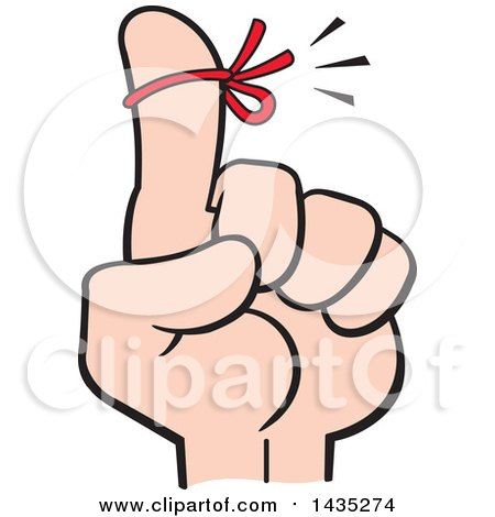 Clipart of a Cartoon Red Reminder String on a Man's Finger - Royalty Free Vector Illustration by Johnny Sajem