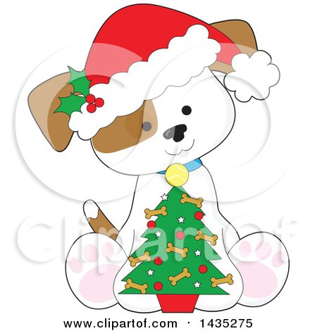 Clipart of a Cartoon Cute Puppy Dog Wearing a Santa Hat and Sitting with a Little Christmas Tree - Royalty Free Vector Illustration by Maria Bell