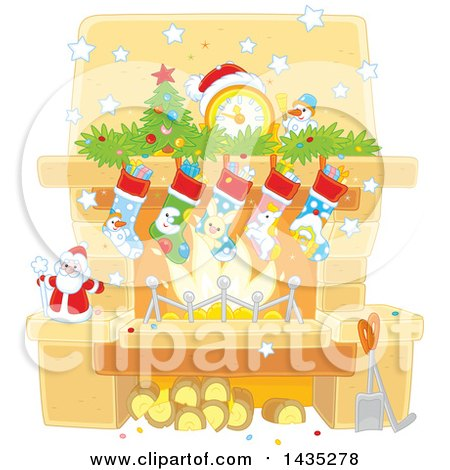Clipart of a Decorated Christmas Hearth Fireplace - Royalty Free Vector Illustration by Alex Bannykh
