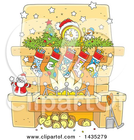 Clipart of a Cartoon Decorated Christmas Fireplace Hearth - Royalty Free Vector Illustration by Alex Bannykh