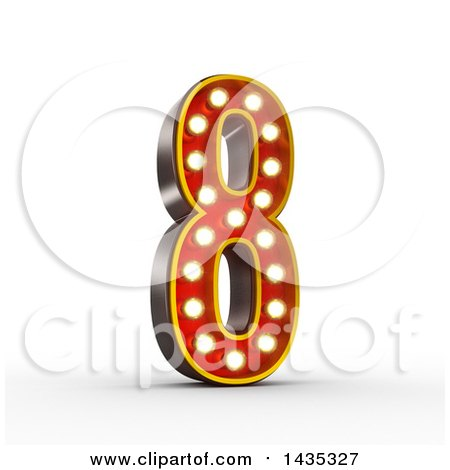 Clipart of a 3d Retro Theater Light Bulb Styled Number 8, on a White Background, with Clipping Path - Royalty Free Illustration by stockillustrations