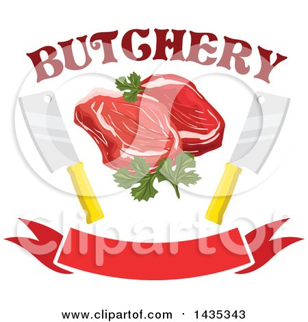 Clipart of a Raw Red Meat Steaks with Parsley, Knives and Text over a Banner - Royalty Free Vector Illustration by Vector Tradition SM