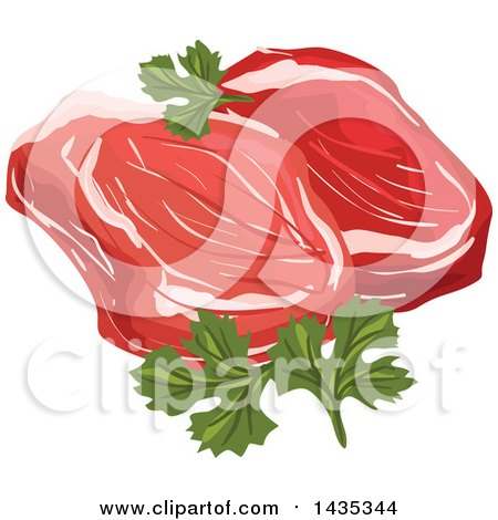 Clipart of a Raw Red Meat Steaks with Parsley - Royalty Free Vector Illustration by Vector Tradition SM