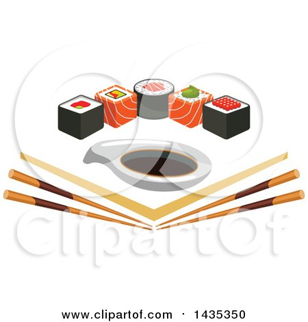 Clipart of a Row of Sushi Rolls with Salmon and Nori over Angled Chopsticks and Soy Sauce - Royalty Free Vector Illustration by Vector Tradition SM