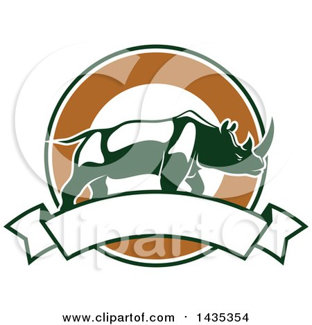 Clipart of a Big Game Hunting Design of a Rhinoceros over a Circle and Banner - Royalty Free Vector Illustration by Vector Tradition SM