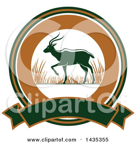 Clipart of a Big Game Hunting Design of an Antelope over a Circle and Banner - Royalty Free Vector Illustration by Vector Tradition SM