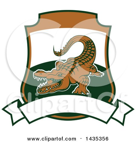 Clipart of a Big Game Hunting Design of a Crocodile or Alligator over a Shield and Banner - Royalty Free Vector Illustration by Vector Tradition SM