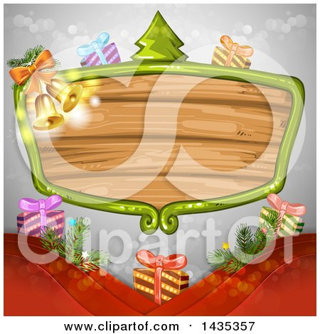 Clipart of a Wooden Sign Frame with Christmas Gifts, a Tree and Bells - Royalty Free Vector Illustration by merlinul