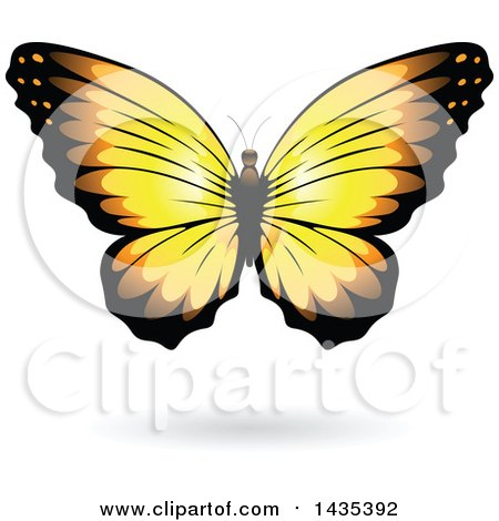 Clipart of a Yellow Butterfly with a Shadow - Royalty Free Vector Illustration by cidepix