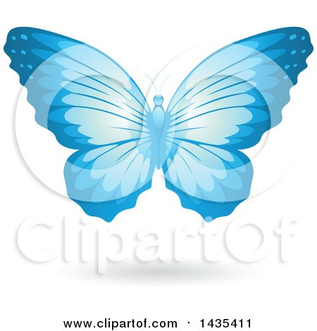 Clipart of a Flying Blue Butterfly and Shadow - Royalty Free Vector Illustration by cidepix