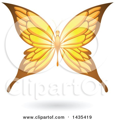 Clipart of a Flying Yellow Butterfly and Shadow - Royalty Free Vector Illustration by cidepix