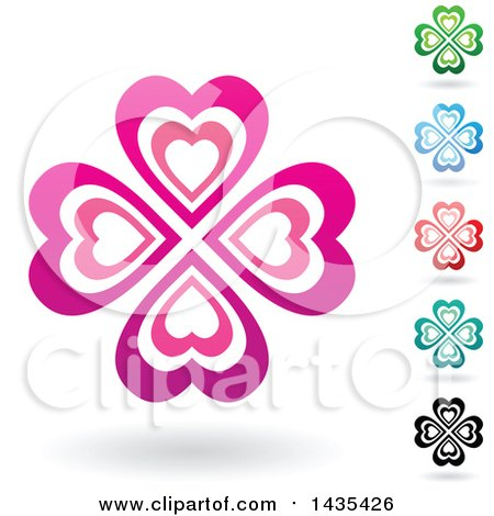 Clipart of Floating Heart Clovers with Shadows - Royalty Free Vector Illustration by cidepix