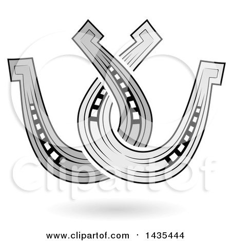 Clipart of Floating Horseshoes and Shadow - Royalty Free Vector Illustration by cidepix