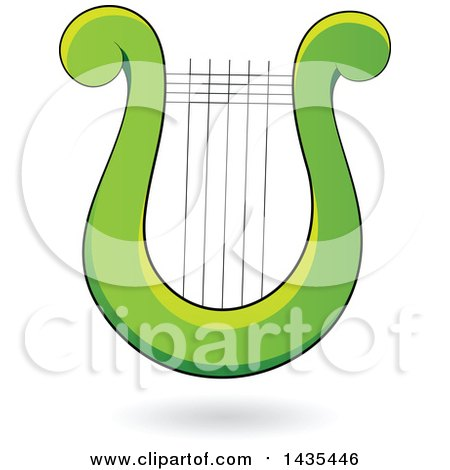 Clipart of a Floating Green Lyre Harp Instrument and a Shadow - Royalty Free Vector Illustration by cidepix