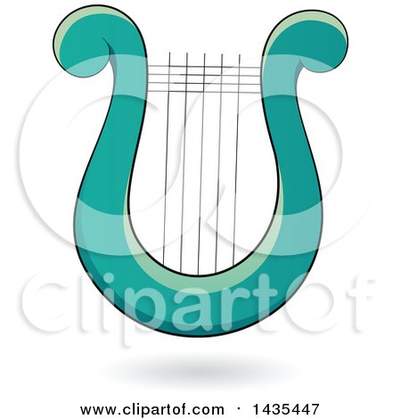 Clipart of a Floating Turquoise Lyre Harp Instrument and a Shadow - Royalty Free Vector Illustration by cidepix