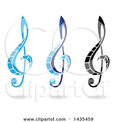 Clipart of Floating Music Clef Symbols and Shadows - Royalty Free Vector Illustration by cidepix